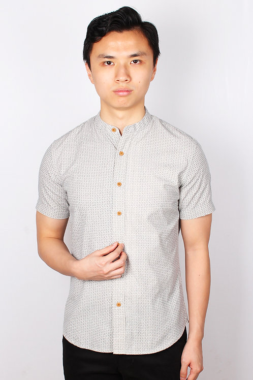 Oriental Motif Print Mandarin Collar Short Sleeve Shirt CREAM (Men's Shirt)