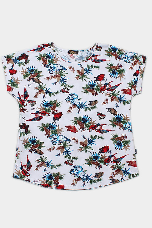 Floral Birds Print Blouse WHITE (Ladies' Top)