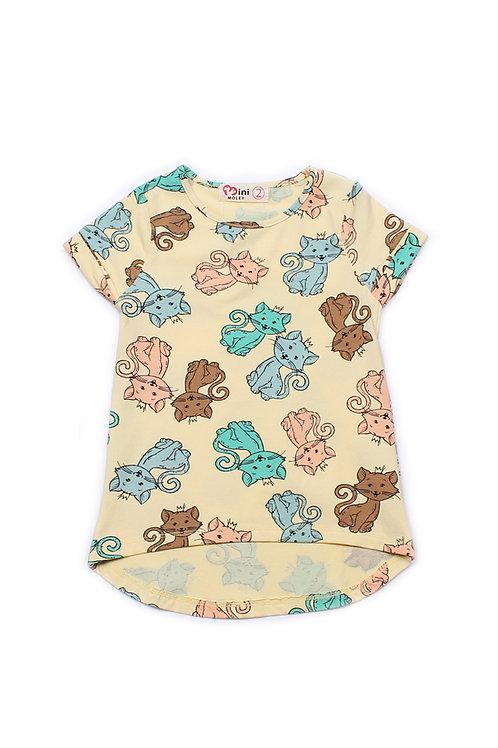 Cats Print T-Shirt YELLOW (Girl's Top)