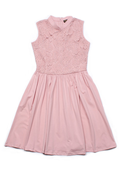 Oriental Cheongsam Inspired Lace Dress PINK (Ladies' Dress)