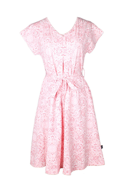 Floral Print Nursing Flare Dress PINK (Ladies' Dress)