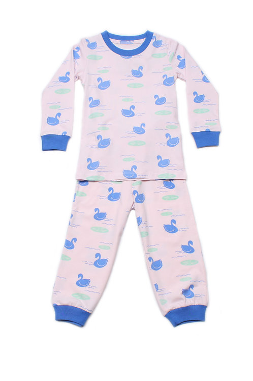 Swan Print Pyjamas Set PINK (Kids' Pyjamas)