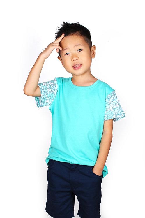 Japanese Wave Print T-Shirt CYAN (Boy's T-Shirt)