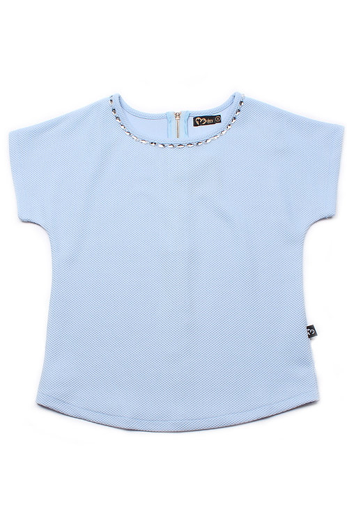 Crystal Neckline Blouse BLUE (Ladies' Top)