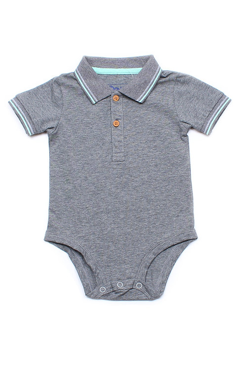 Twin Tipped Polo Romper GREY (Baby Romper)