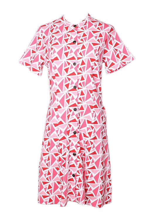 Geometric Triangles Print Button Dress RED (Ladies' Dress)
