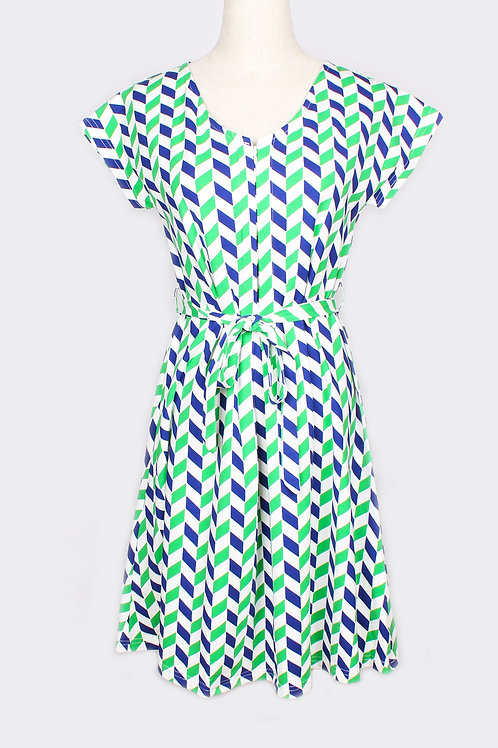 Geometric Chevron Print Nursing Flare Dress GREEN (Ladies' Dress)