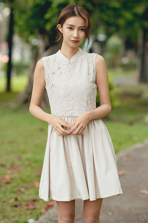 Oriental Cheongsam Inspired Lace Dress CREAM (Ladies' Dress)