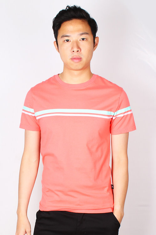 Pastel Twin Stripe T-Shirt PINK (Men's T-Shirt)