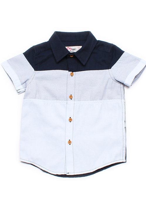 Tri-Colour Block Short Sleeve Shirt NAVY (Boy's Shirt)