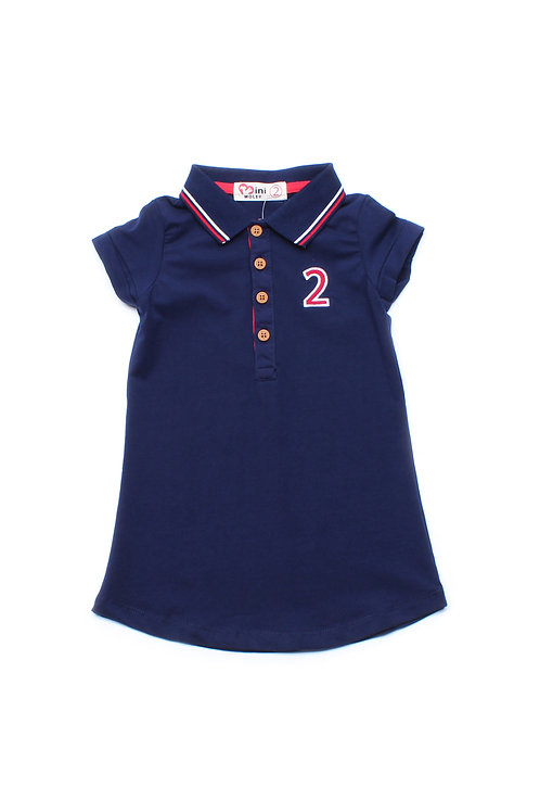 Twin Tipped Polo Shift Dress NAVY (Girl's Dress)