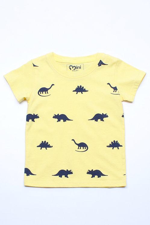 Dinosaurs Print T-Shirt YELLOW (Boy's T-Shirt)