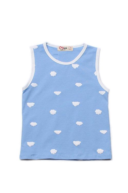 Clouds Print Singlet BLUE (Boy's Singlet)