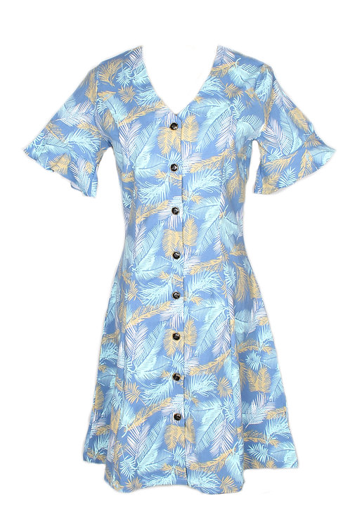 Botanical Print Button Down Dress BLUE (Ladies' Dress)
