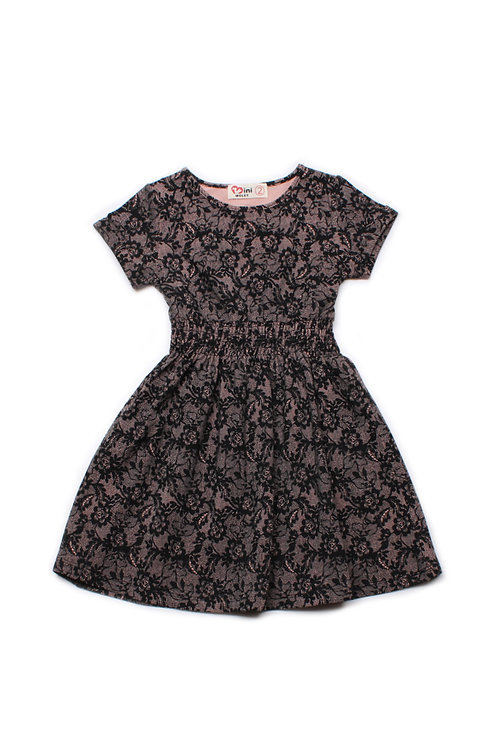 Floral Mesh Print Skater Dress BLACK (Girl's Dress)