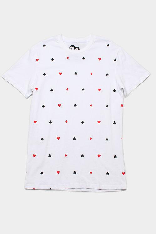 Card Suit Print T-Shirt WHITE (Men's T-Shirt)