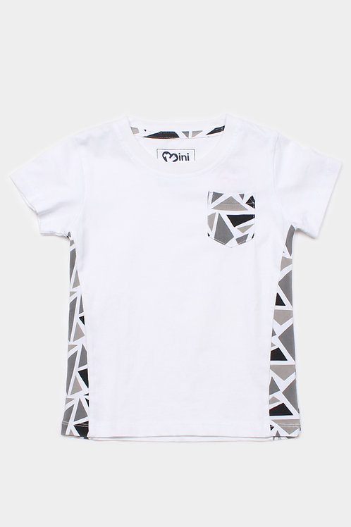 Geometric Triangles Print T-Shirt WHITE (Boy's T-Shirt)
