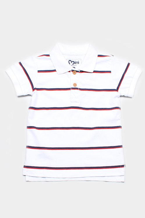 Shadow Stripes Polo T-Shirt WHITE (Boy's T-Shirt)