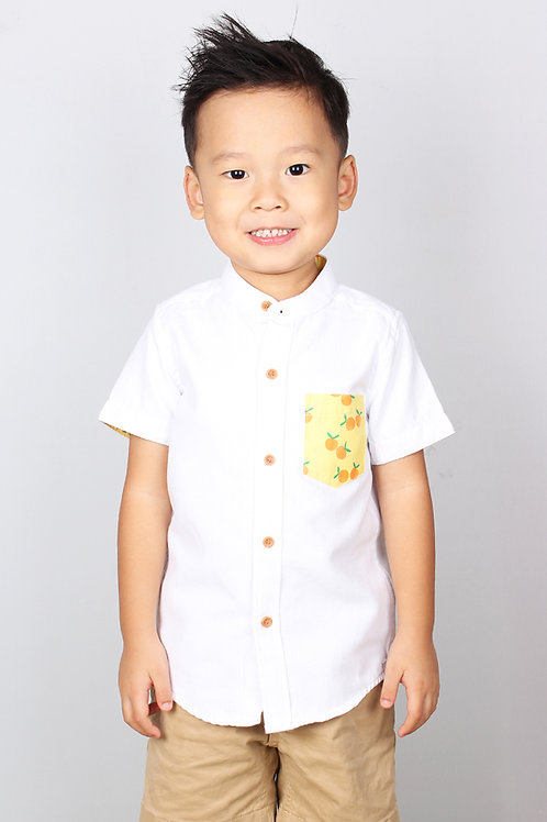 Mandarin Orange Print Mandarin Collar Short Sleeve Shirt WHITE (Boy's Shirt)