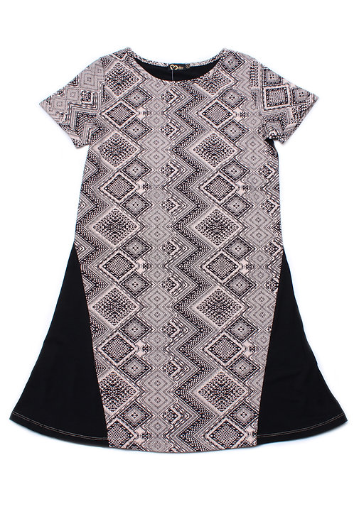 Aztec Design Print Shift Dress BLACK (Ladies' Dress)
