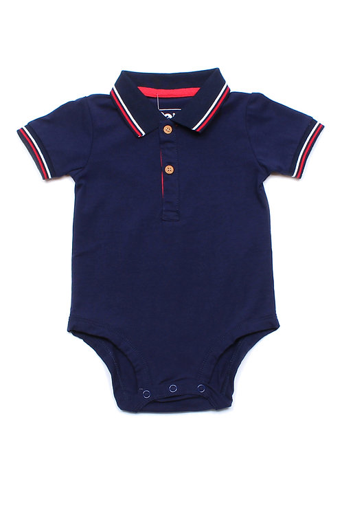 Twin Tipped Polo Romper NAVY (Baby Romper)