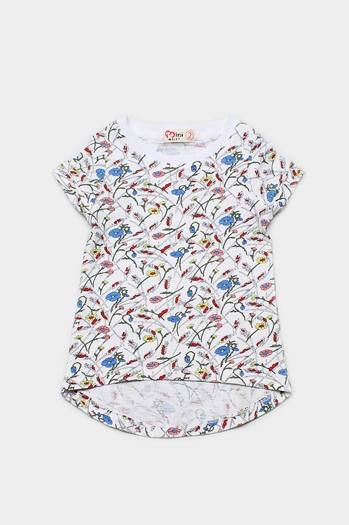 Floral Print T-Shirt WHITE (Girl's Top)