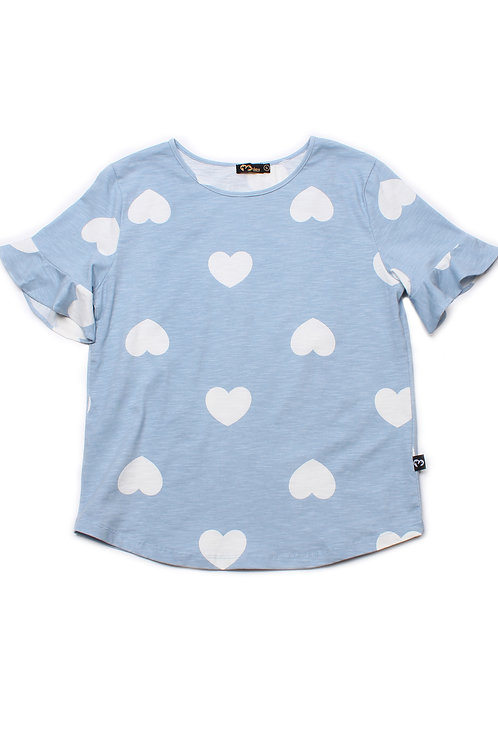 Hearts Print Blouse BLUE (Ladies' Top)