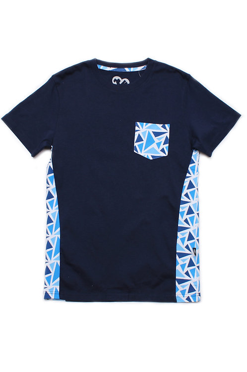 Geometric Triangles Print T-Shirt NAVY (Men's T-Shirt)