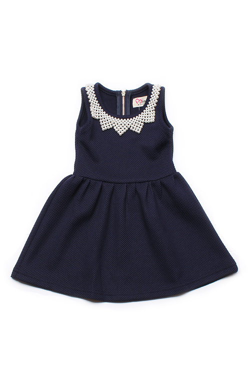 Faux Pearl Neckline Dress NAVY (Girl's Dress)