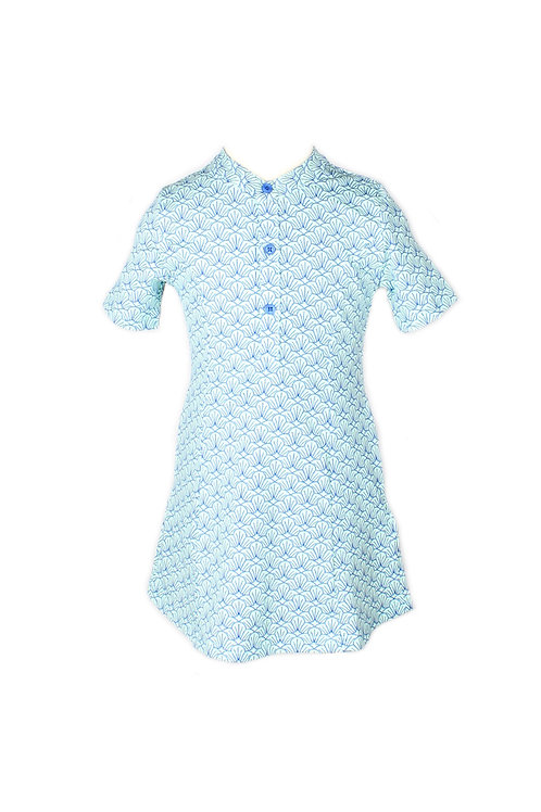 Seashell Print Half-Button Down Dress BLUE (Girl's Dress)