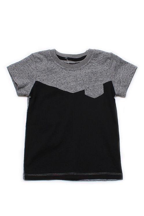 Two-Tone Chevron T-Shirt with Pocket GREY (Boy's T-Shirt)