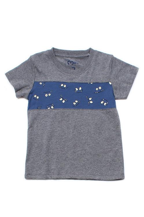 Cartoon Eyes Print Panel T-Shirt GREY (Boy's T-Shirt)