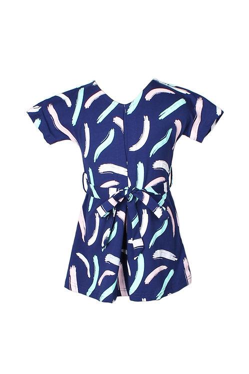 Pastel Paint Brush Print Flare Dress NAVY (Girl's Dress)