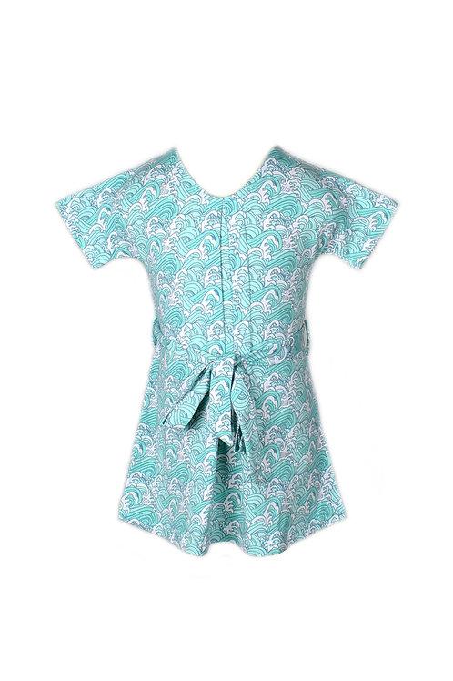 Japanese Wave Print Flare Dress CYAN (Girl's Dress)