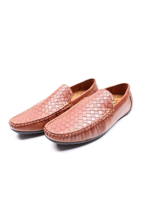 Weave Pattern Loafers BROWN (Men's Shoes)