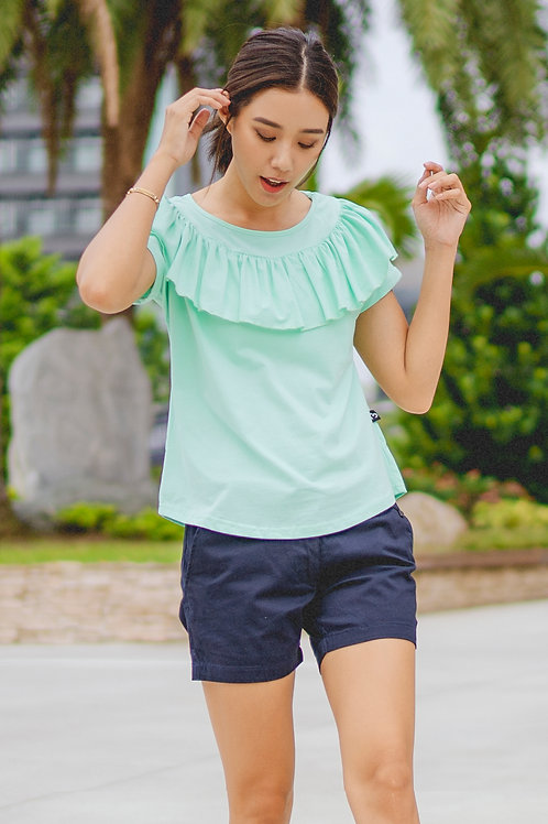 Frill Ruffle Collar Blouse GREEN (Ladies' Top)