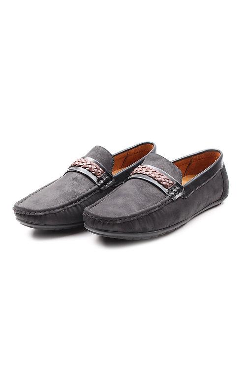 Twine Strap Faux Suede Loafer BLACK (Men's Shoes)