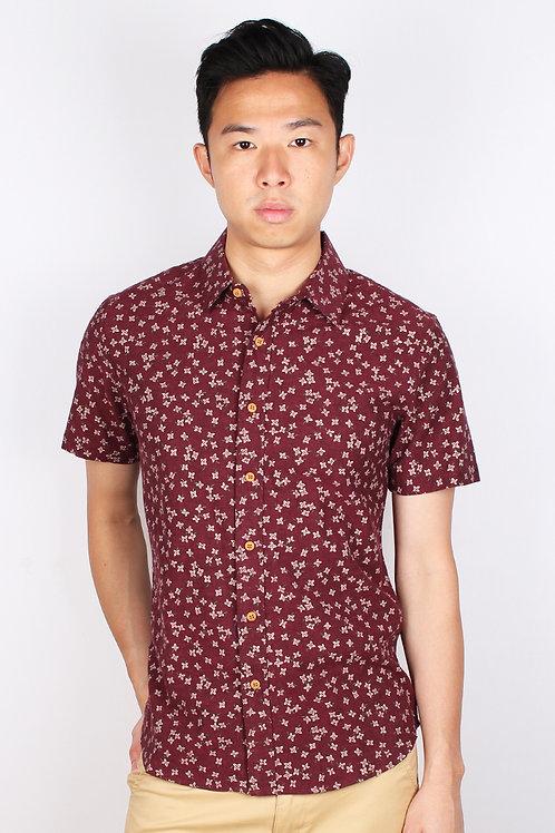 Floral Motif Short Sleeve Shirt RED (Men's Shirt)