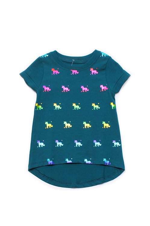 Shiny Psychedelic Unicorns Print T-Shirt TURQUOISE (Girl's Top)