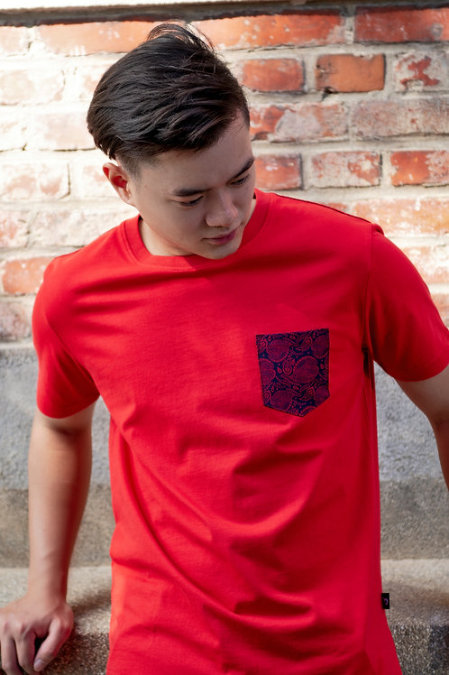 Tribal Print Pocket T-Shirt RED (Men's T-Shirt)