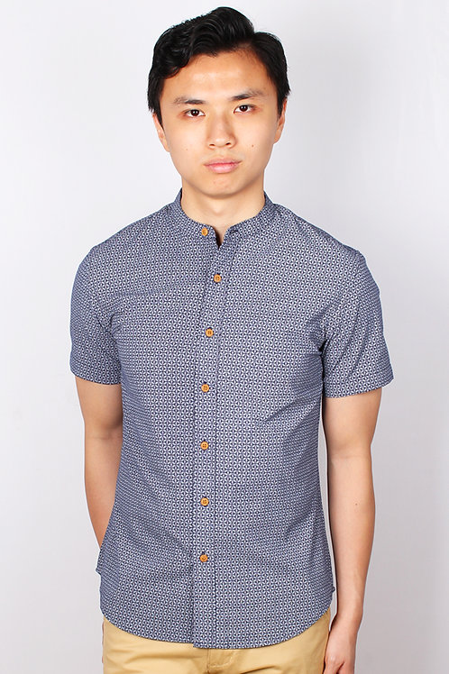 Oriental Motif Print Mandarin Collar Short Sleeve Shirt NAVY (Men's Sh