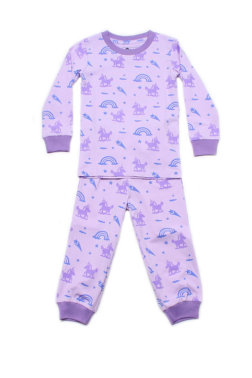 Unicorn Print Pyjamas Set PURPLE  (Kids' Pyjamas)