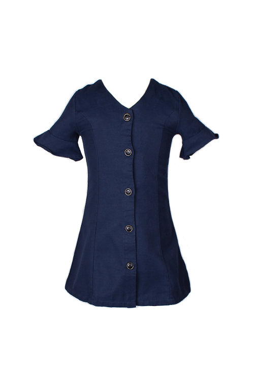 Brushed Cotton Button Down Dress NAVY (Girl's Dress)