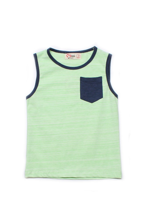 Contrast Pocket Singlet GREEN (Boy's Singlet)