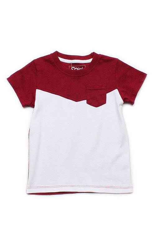 Two-Tone Chevron T-Shirt with Pocket RED (Boy's T-Shirt)