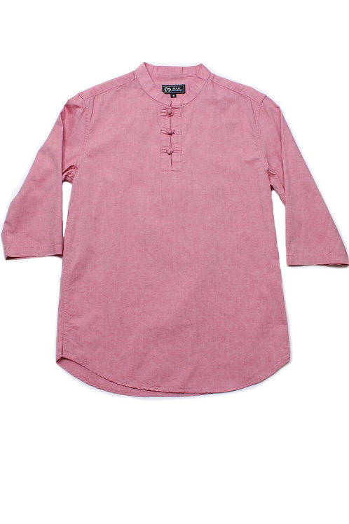 Oriental Style 3/4 Sleeve Shirt RED (Men's Shirt)
