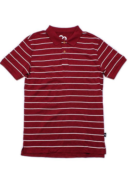 Striped Polo T-Shirt MAROON (Men's Polo)
