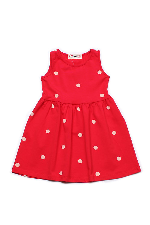 Polka Dot Print Dress RED (Girl's Dress)