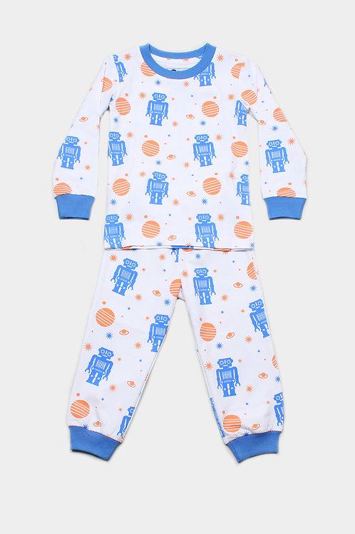 Robot Print Pyjamas Set WHITE  (Kids' Pyjamas)