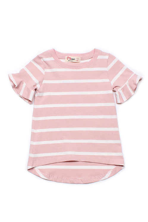 Striped Ruffle Cuffs T-Shirt PINK (Girl's Top)